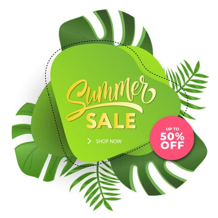 Summer sale banner modern design tropical leaves background. Tropical summer banner. 	 Sale website banner. Sale tag. Sale promotional material vector illustration. Design for social media banner, poster, email, newsletter, ad, leaflet, placard, Иллюстрация