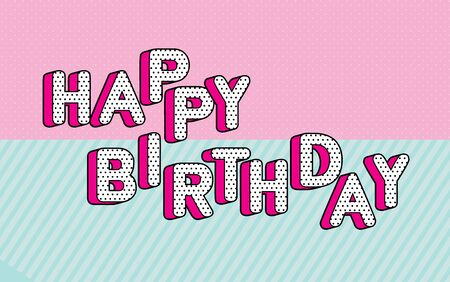 Happy birthday banner text with hot pink shadow themed party lol doll surprise.  Black and white dots, 3D letters design. Иллюстрация