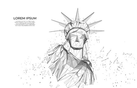 Statue of Liberty in New York City from particles, lines and triangles on blue background. Polygonal wireframe silhouette. Mesh art, poly low.