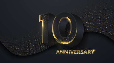 10th Anniversary celebration. Golden number 10 on black paper cut background with golden glitters. Vector festive illustration. Birthday or wedding party event decoration