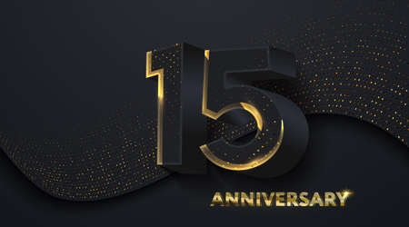 15th Anniversary celebration. Golden number 15 on black paper cut background with golden glitters. Vector festive illustration. Birthday or wedding party event decoration