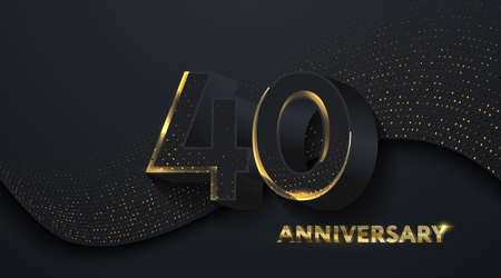 40th Anniversary celebration. Golden number 40 on black paper cut background with golden glitters. Vector festive illustration. Birthday or wedding party event decoration