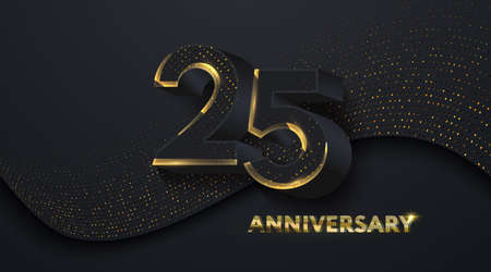 25th Anniversary celebration. Golden number 25 on black paper cut background with golden glitters. Vector festive illustration. Birthday or wedding party event decoration Ilustrace