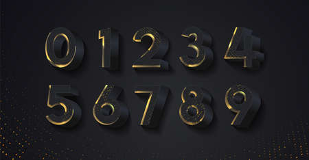 3D black glittering numbers with shadow. Vector 3d illustration. Realistic shiny characters. Modern Golden numbers set for poster, banner, card, invitation.