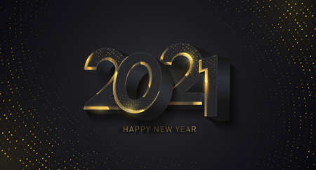 Happy 2021 new year card in paper cut style. Happy New Year 2021 Shining background. Holiday vector illustration of black numbers and sparkling glitters pattern. 2021 Happy new year greeting banner.
