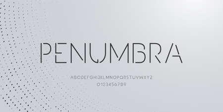 Elegant alphabet letters font and number. Minimal modern alphabet fonts. Typography fonts regular uppercase. Vector illustration Ilustrace