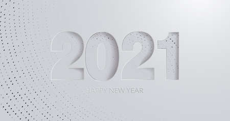 2021 New Year banner. Happy 2021 new year card in paper cut style for your seasonal holidays flyers, greetings and invitations cards, banners. Ox year. Ilustrace
