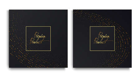 Luxury Premium design. Vector set packaging templates with with golden glitters for luxury products. Collection of design elements with golden foil. Black paper cut background. VIP design