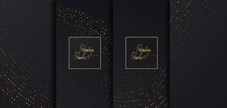 Luxury Premium design. Vector set packaging templates with golden glitters for luxury products. Collection of design elements with golden foil. Black paper cut background. VIP design