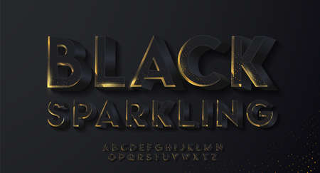 3D black sparkling font with shadow. Modern festive alphabet set for luxury poster, banner, card, invitation. Realistic shiny characters. Vector 3d illustration.