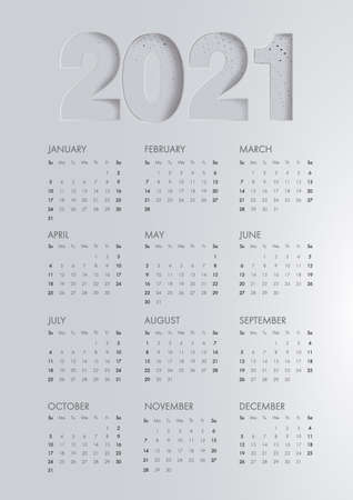 Calendar template for 2021 year. Corporate and business calendar. Calendar 2021 week start Sunday corporate design planner template. Planner diary in a minimalistBlack paper cut background. VIP design