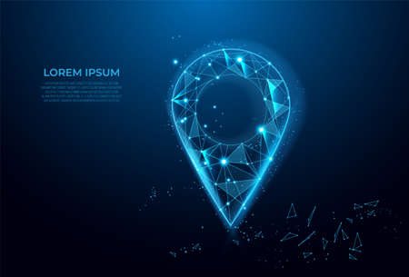 Gps, location sign in futuristic abstract style on blue background. Gps navigator pin. Map pointer sign. Route navigator. Polygon vector wireframe concept. Low poly, mesh art. Ilustrace