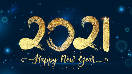 2021 Happy new year script text hand lettering. Design template Celebration typography poster, banner, greeting card for Merry Christmas and 2021 happy new year. New Year 2021 Golden text Background Ilustrace