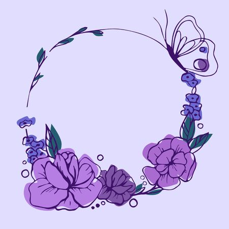 Vector illustration. Purple hand drawn flowers in circle. Beautiful spring card Çizim