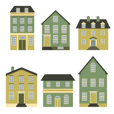 Set of houses front view. Collection of icons of urban and suburban house, town house, and cottage. Isolated vector illustration Иллюстрация