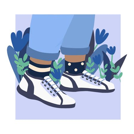 Female or male legs in the sneakers. Cool bright sport footwear. Stylish platform shoes. High socks and flowers. Hand drawn vector colored trendy illustration. Flat design