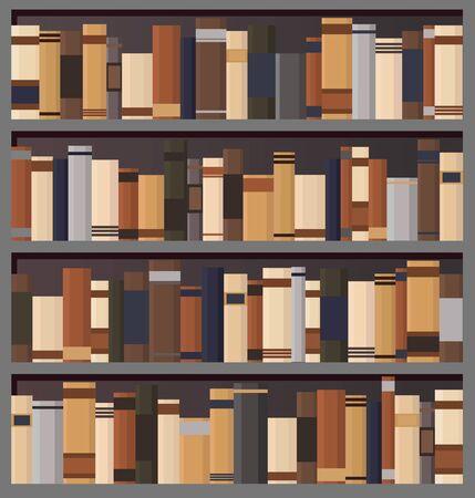 Bookshelves full of books both in the library. Flat vintage vector illustration. Иллюстрация