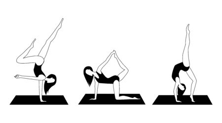 Yoga Activity Silhouettes. Women doing yoga. Different asanas. Black and white simple style vector illustration.