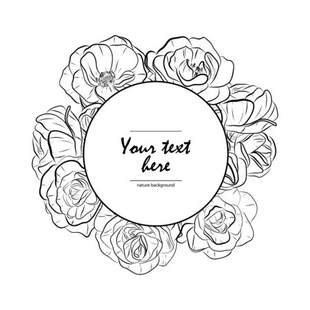 Black and white vector illustration. Vintage frame with flowers. Floral hand drawn card. Line-art roses. Vectores