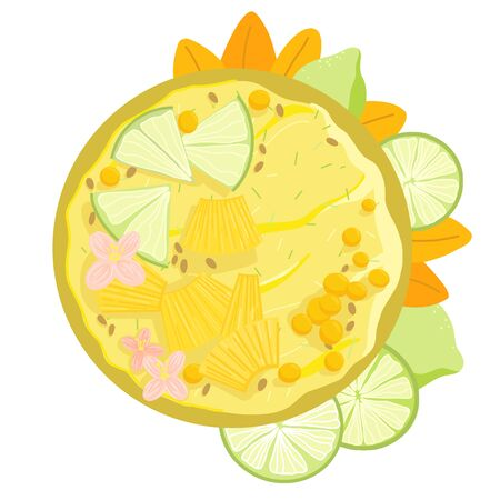 Acai smoothie bowl with lime, pineapple, flowers top view. Healthy natural breakfast. Portion of yellow smoothie with fruits in a bowl isolated on white background. Vector hand drawn illustration