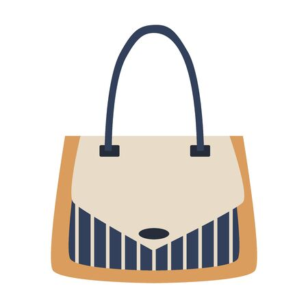 Detailed blue, white, beige female handbag on a white background. Isolated vector flat illustration. Woman bag or purse. Beauty and elegance shop