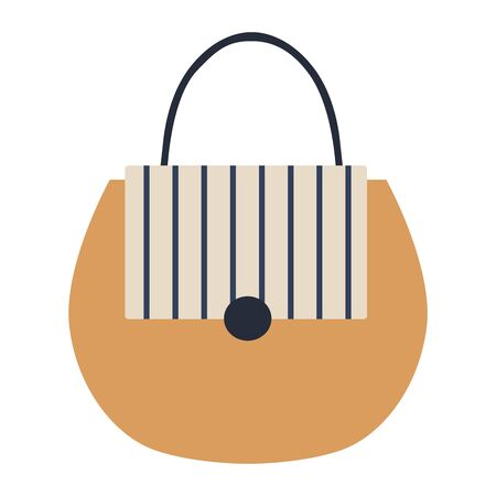 Detailed blue, white, beige female handbag on a white