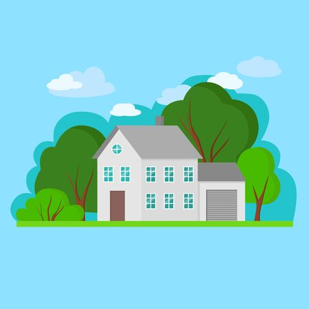 Simple flat gray house with green trees and blue sky. Vector Illustration of cityscape. Cottage, modern architecture. Idea of real estate.