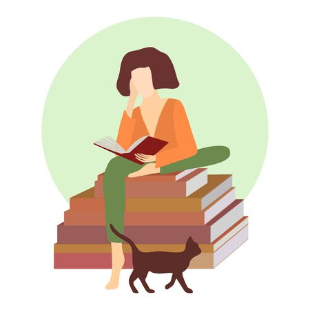 Young woman with book sitting on stack of books with cat. Vector style flat illustration. Reading girl. Education and school, study and literature. Exam preparation using paper book.