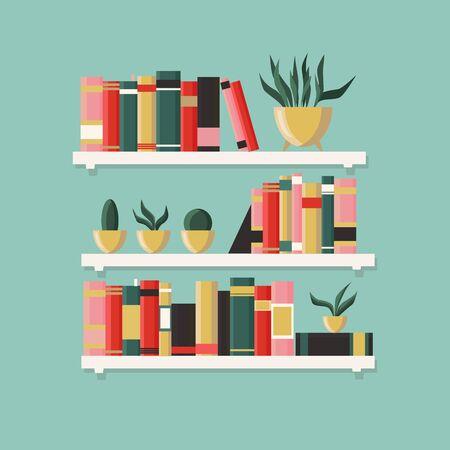 White bookshelf with books and plants. Element of home interior design. Modern interior. Shelves full of boks. Vector illustration isolated on a light blue background.