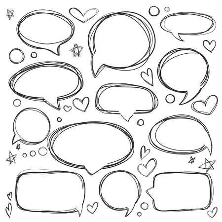 Set of hand drawn elements for selecting text. Oval, round frames and labels. Dialog box icon. Think & talk speech bubbles. Artistic collection of hand drawn doodle style comic design elements.
