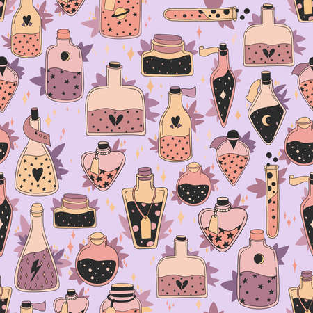 Seamless pattern with colorful magic cartoon bottles and love potions with stars. Vector illustration. Magic elixir hand drawn pattern design. Decorative cute wallpaper, good for printing.
