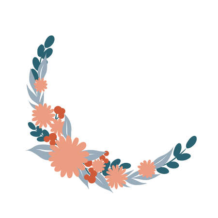 Floral Frame. Cute retro flowers arranged un a shape of the wreath perfect for wedding invitations, birthday cards and covers, poligraphy. Round blue and coral frame border