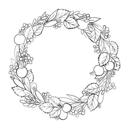 Beautiful floral wreath made of rosehip leaves and berries. Floral frame. Herbal vector illustration for cards, wedding, birthday, congratulations. Hand drawn decor. Black and white outline