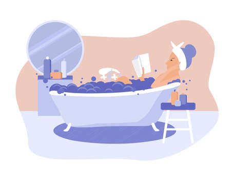 Happy woman takes a bath and reads book vector flat illustration. Modern bathroom interior design. Relaxation during hygienic or spa procedure conceptbeauty spa at home, relax washing in foam bubbles.