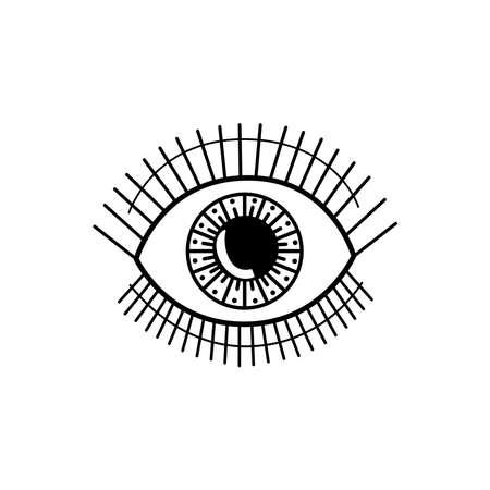 Evil eye. Eye of Providence. Magic graphic witchcraft symbol. Magical esoteric religion sacred geometry symbol vector illustration. Black icon on white background.