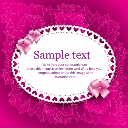 Template  for invitation card with floral ornament on purpe background Vector