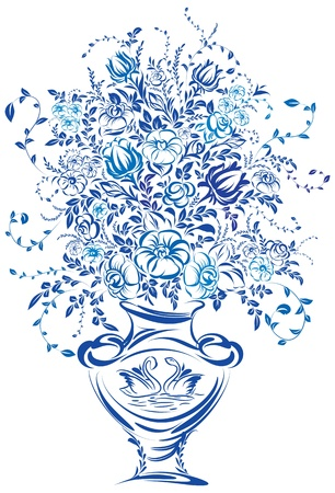 Bouquet of Flowers. Vector illustration of blue color Vector