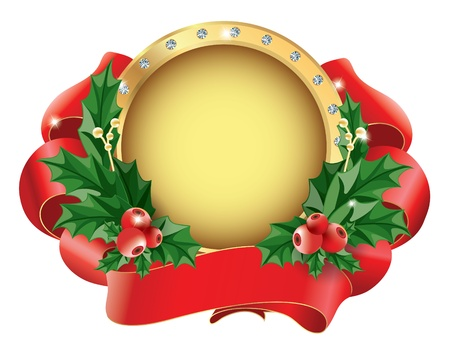 Christmas wreath with leaves and berries of holly and red ribbon Vector