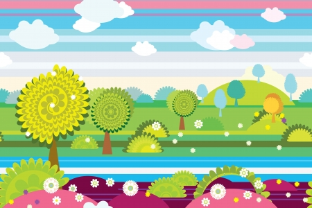 country side: Seamless background of country side in childlike style.