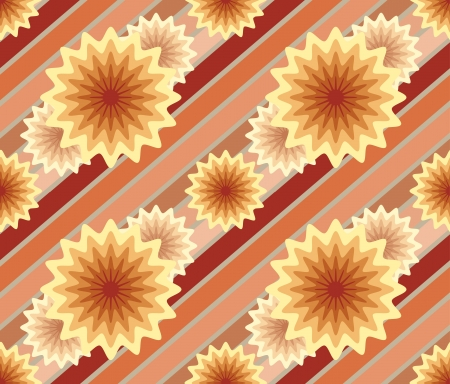 Abstract retro seamless pattern with lines and flowers Vector