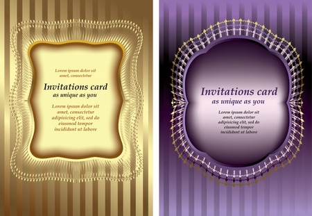Template invitation card with an ornament on a gold and purple background