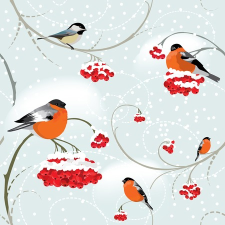 Seamless winter background with bullfinch, tomtit and bunch of rowan photo