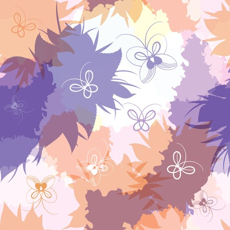 batterfly: Seamless pattern of overlapping spots and butterflies.