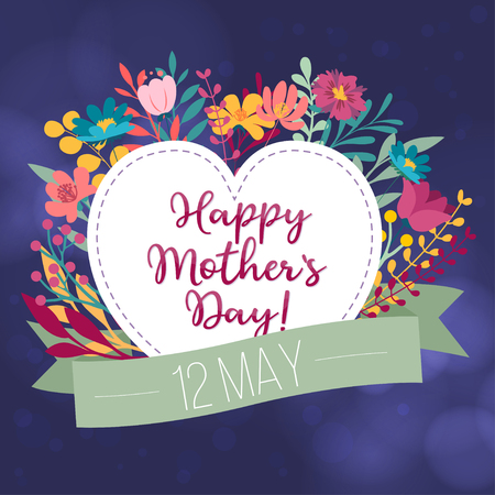 International Mothers Day greeting card template, floral blurred background, can be used as invitation Vector Illustration