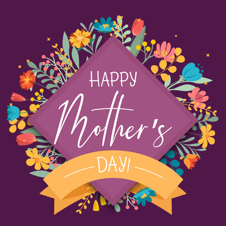 Happy Mothers Day flowers background, elegant lettering design card template for business. Can be used as greeting card