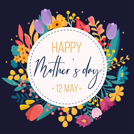 Happy Mothers Day greeting card template for business, floral background. Can be used as invitation card