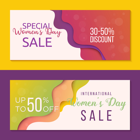 Collection of two horizontal banners to Womens Day. Sale banner templates for your business. Creative design in papercut technique Vector Illustration