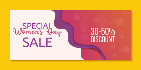 Special Womens Day sale banner template. Offer for women. Creative design in papercut technique
