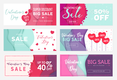 Collection of six sale banner templates to Valentines Day. Special offers for lovers. Abstract wavy shapes background