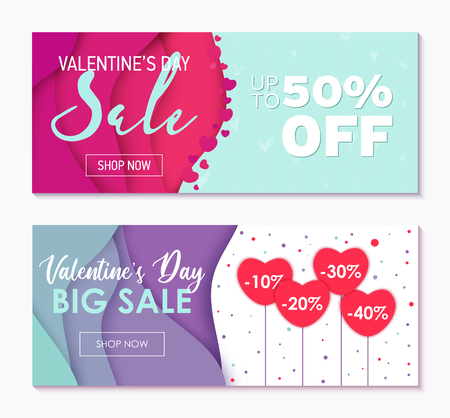 Set of two horizontal banners to Valentines Day Sale Weekend. Special offer for lovers. Abstract wavy shapes background